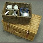 A wicker hamper,