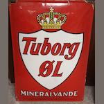 A Tuborg beer advertising enamel sign,