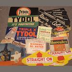 A collection of cardboard advertising signs