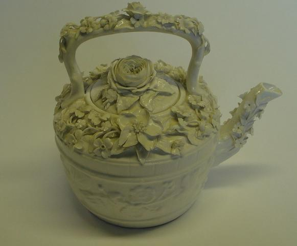 A John Bevington floral encrusted tea kettle  Circa 1880