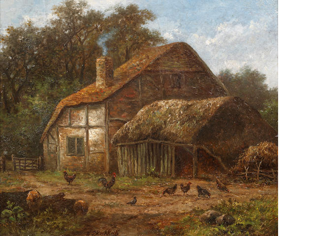 Hendrik Pieter Koekkoek (Dutch, 1843-died circa 1890) Thatched barn with chickens to the foreground
