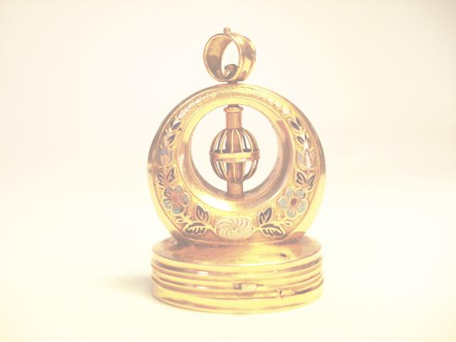 A gold and enamel musical fob seal, Swiss, circa 1825,