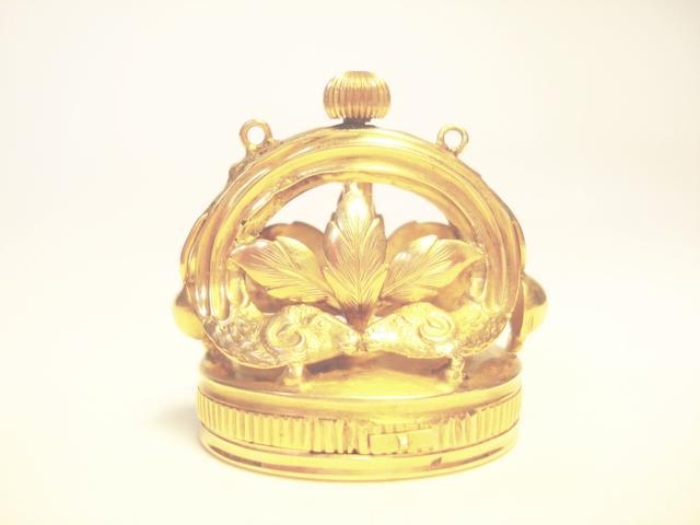 A gold musical fob seal, circa 1830,