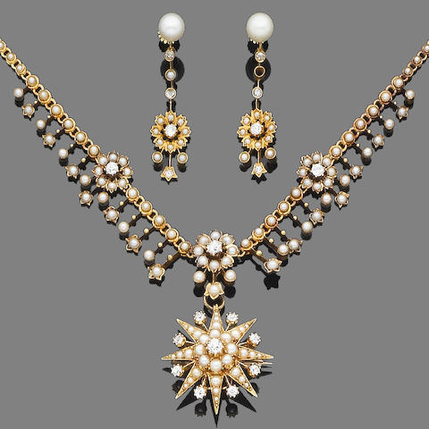A late 19th century gold, half-pearl and diamond pendant/brooch necklace and a pair of cultured pearl, half-pearl and diamond pendent earrings (3)