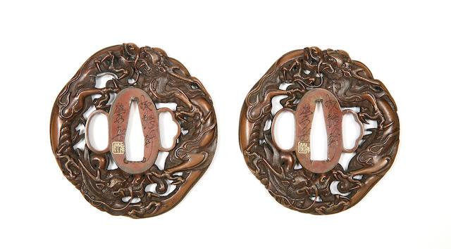 A Fine Daisho Pair Of Copper Sukashi Tsuba