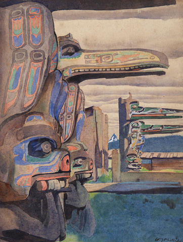 (n/a) Walter Joseph Phillips, RCA, ASA, CSPWC (Canadian, 1884-1963) The Hoh-Hok Houseposts at Karlukwees