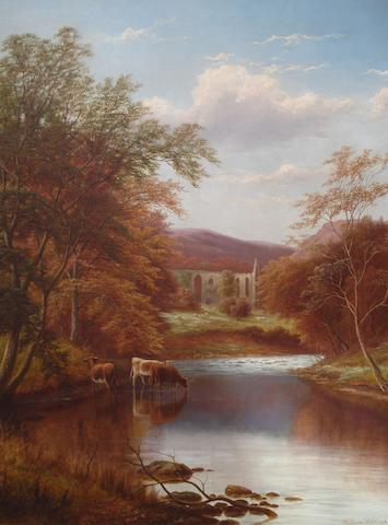 William Mellor (British, 1851-1931) 'Bolton Abbey, on the Wharfe, Yorkshire, Autumn'
