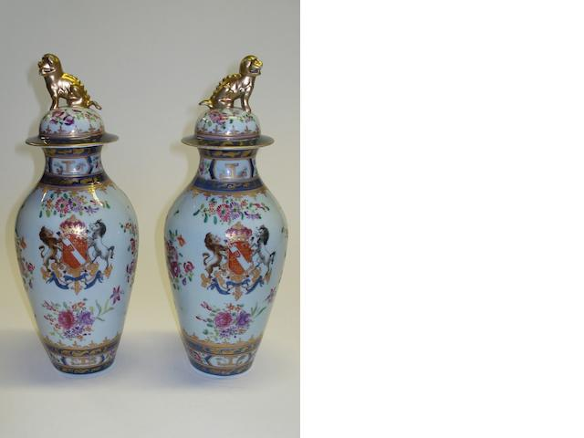 A pair of Armorial porcelain vases, possibly Samson  19th Century
