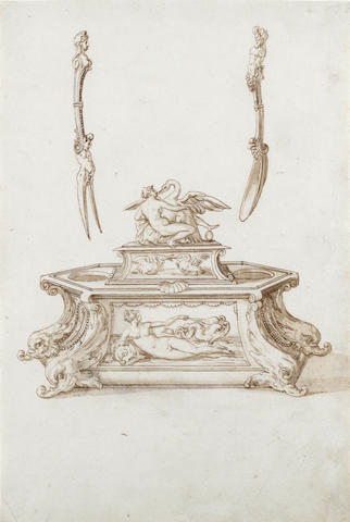 Jacopo Strada (Mantua 1507-1588 Vienna), and Studio Designs for a salt cellar and egg dish with Leda and the Swan, with a fork and spoon
