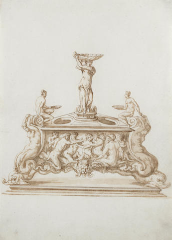 Jacopo Strada (Mantua 1507-1588 Vienna), and Studio Design for a triangular salt and egg dish