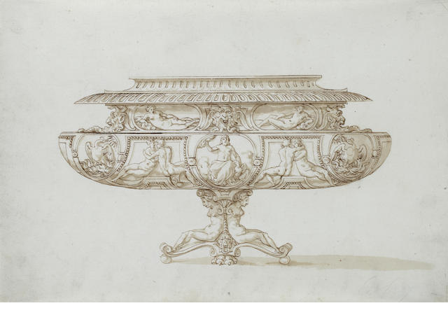 Jacopo Strada (Mantua 1507-1588 Vienna), and Studio Design for a footed bowl with Zeus with eagle and thunderbolt