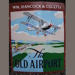 'The Old Airfield' a large enamel pub sign for W H Hancock & Co Ltd brewery