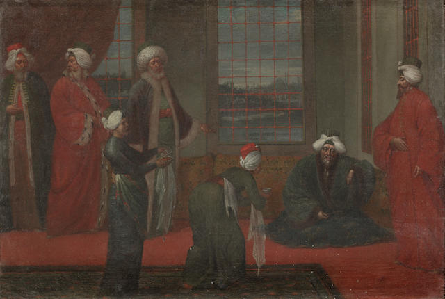 "Van Moor ""The lady's Harem "" and the ""Turkish ambassador"" (2) oil on canvas cm  60x 40 framed"