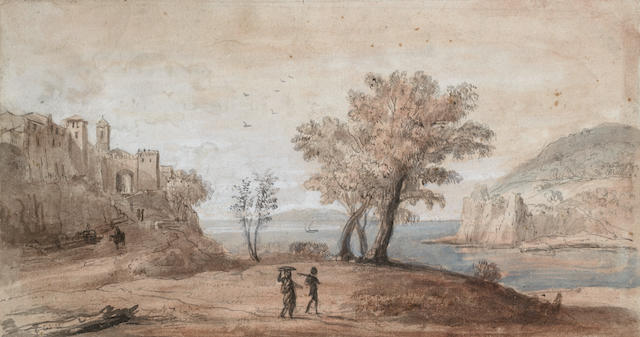 Gaspar van Wittel, called Vanvitelli (Utrecht circa 1653-1736 Rome) A capriccio of two travellers in a coastal landscape