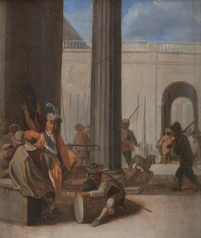 Attributed to Dirck van Delen (Heusden 1605-1671 Arnemuyden) Soldiers encamping in a fortified city