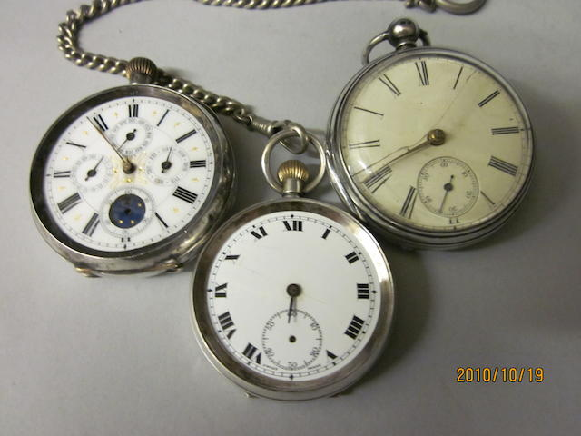 A Swiss open faced calendar pocket watch,  (4)