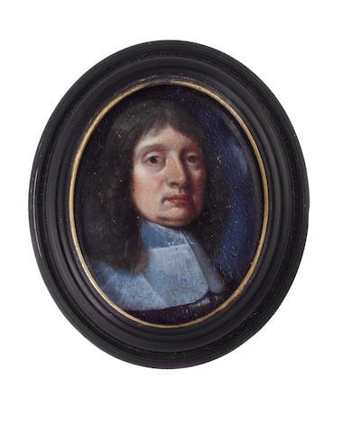 English School, circa 1650 A Gentleman, wearing black cloak and white lawn collar, natural hair