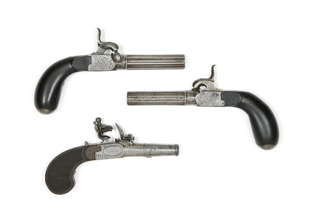 A Pair Of Liège Percussion Box-Lock Pocket Pistols