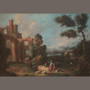 Circle of Giuseppe Zais (Forno di Canale 1709-1784 Treviso) Shepherds and shepherdess grazing their cattle before an mountainous landscape; and A horseman, a shepherdess resting on a rock and other figures, ruins in the distance (2)