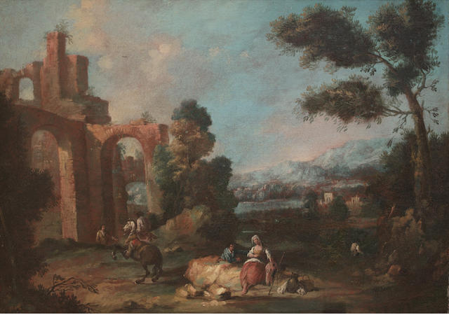 Attributed to Antonio Diziani (Venice 1738-1797)  A horseman with a shepherdess resting on a rock
