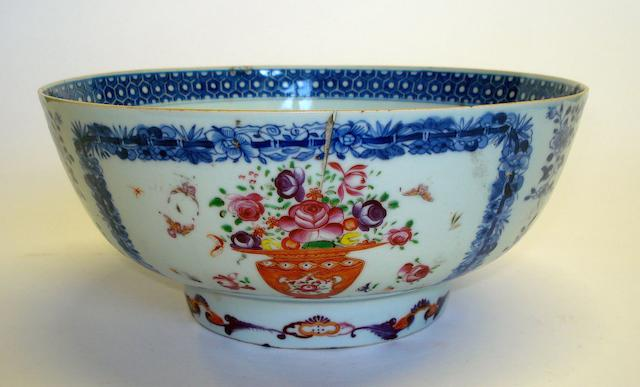 A Chinese blue white enamelled punch bowl  19th Century