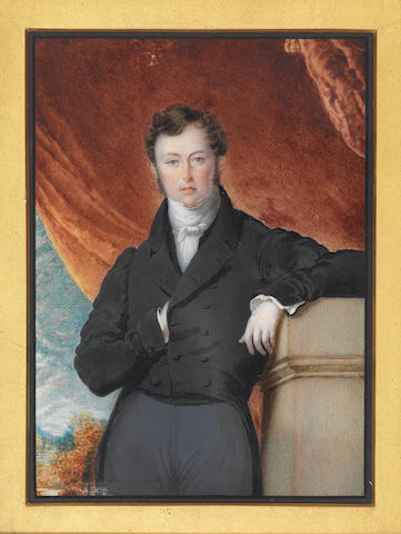 Noel Carter (British, active circa 1823-circa 1837) and William Barclay Jr (British, 1797-1859) Two portraits of Reverend Basil Beridge and Mrs Berridge: the former, standing before a red curtain and landscape, his left arm resting on a plinth, wearing grey trousers, black double-breasted tail coat, white chemise, stock and tie; the latter, seated before a landscape, her left arm resting on a plinth, wearing white dress cut at her shoulders with puff sleeves and lace slip, gold belt with blue cabochon enamel or gem stone, the same decoration seen at her shoulders, gold shawl about her arms, gold wedding bands, gold pendent earrings, her dark hair upswept