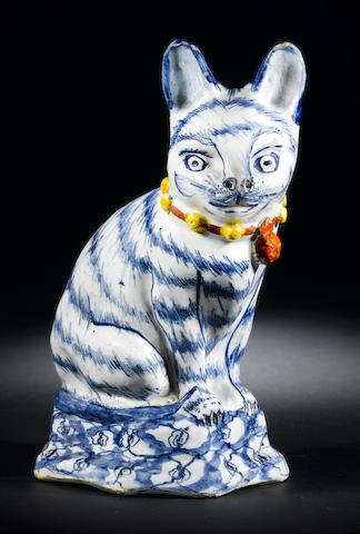 A Dutch Delft model of a cat circa 1740-50