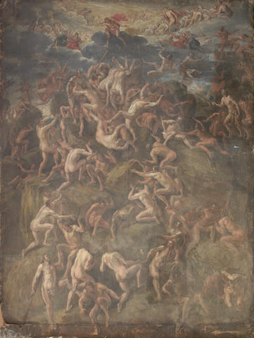 Circle of Hans Jordaens III (Antwerp circa 1595-1643) The Last Judgment 175 x 130 cms CHECK unframed, unstretched