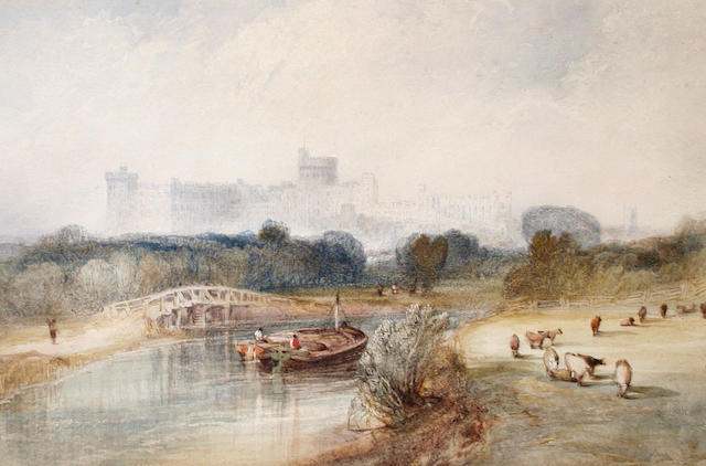 Attributed to Alfred Vickers Snr. (British, 1786-1868) A view of Windsor castle from the Thames