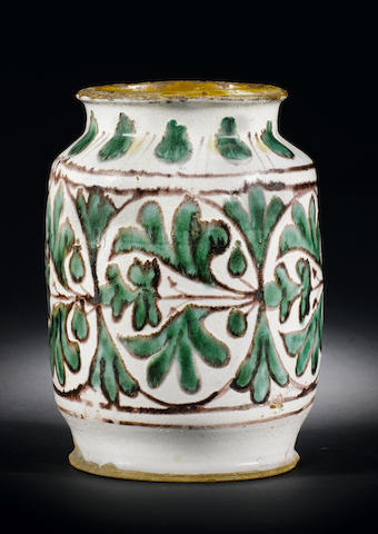 An extremely rare early Florentine maiolica albarello from the Collection of Anthony Ray second quarter 15th century