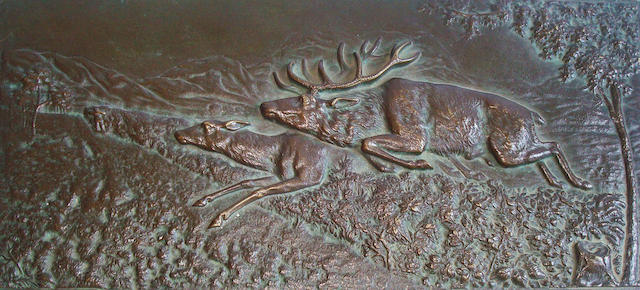 A bronze stag and hind plaqueInscribed H Henies