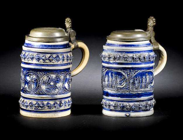 Two German Westerwald tankards, one with views of Cologne, the other portraits of Maximillian