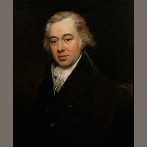 English School, late 18th Century  Portrait of a gentleman, half-length, seated, in a black jacket and a white jabot