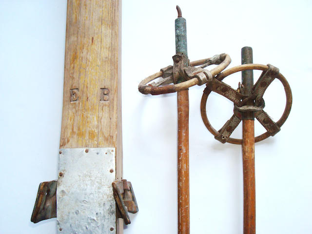 A pair of early 20th century wooden skis initialled E.B.