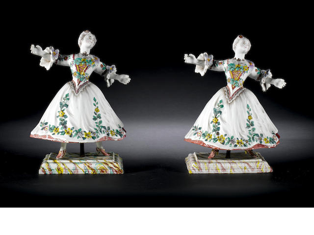 Two faience figures of dancers on stands, possibly Holitsch or Marseilles