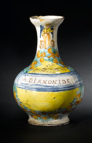 A Deruta maiolica bottle mid 17th century