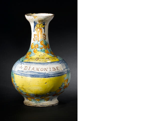 A Neapolitan or Sicilian maiolica bottle mid 17th century
