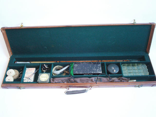 A leather fishing tackle case