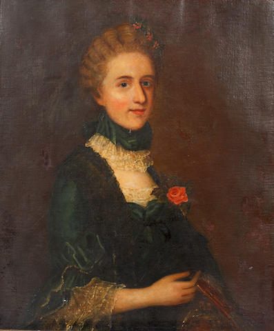 English School, 18th Century Portrait of a lady holding a rose