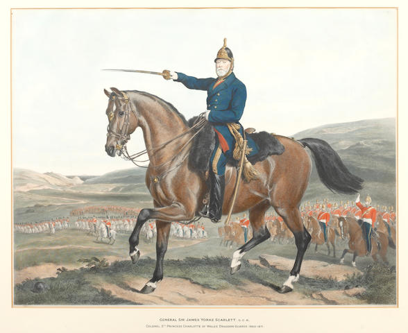 A 19th Century hand coloured engraving General Sir James Yorke Scarlett, G.C.B, Colonel 5th Princess Charlotte of Wales' Dragoon Guards 1860-1871 53 x 68.5cm.