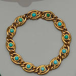 A late Victorian 15ct gold and turquoise curb-link bracelet