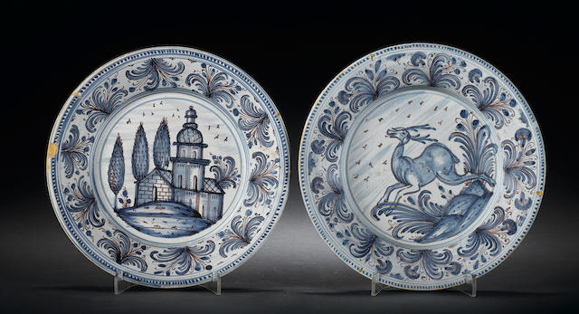 Two Italian maiolica plates 18th Century.