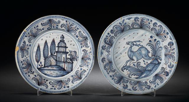 Two Italian maiolica plates 18th Century.