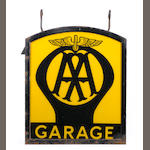 An 'AA Garage' illuminating hanging glass garage sign,