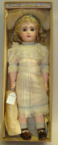 Bebe Jumeau bisque head doll in original box