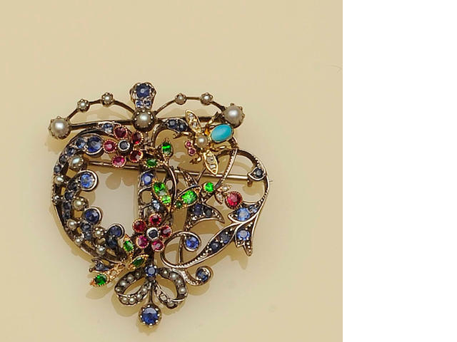 A Victorian multi gem set brooch