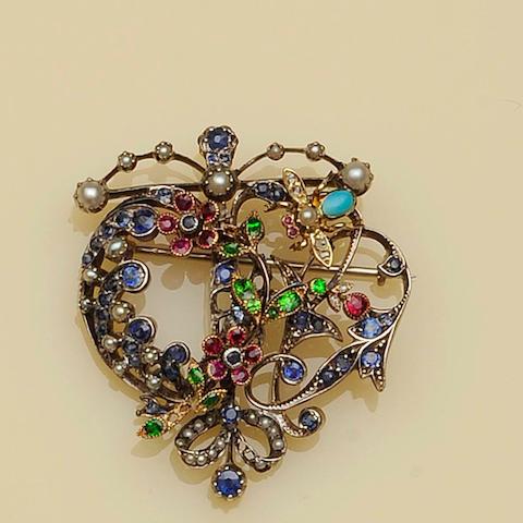A Victorian multi gem set brooch