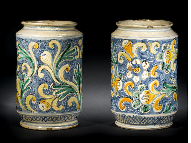 A large pair of Sicilian majolica floral pattern drug jars