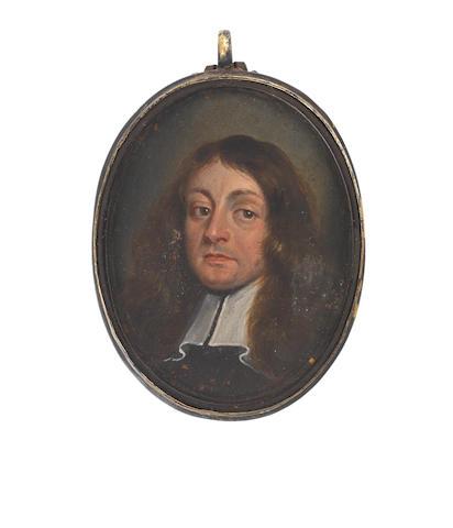 English School, circa 1650 A Gentleman, wearing black cloak and white lawn collar