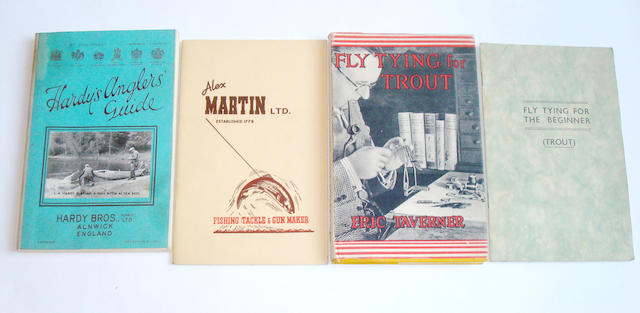 A Hardy's Anglers' Guide 1951, an Alex Martin catalogue, a fly tying pamphlet and book